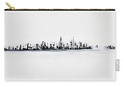 New York City Skyline Black And White Carry-all Pouch by Jack Diamond