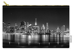 New York City Skyline Panorama At Night Bw Carry-all Pouch by Az Jackson