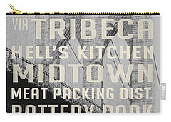 New York City Subway Stops Vintage Brooklyn Bridge Carry-all Pouch by Edward Fielding