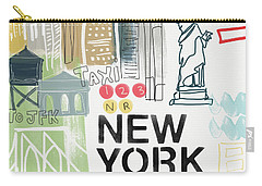 New York Cityscape- Art By Linda Woods Carry-all Pouch by Linda Woods