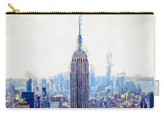 New York Skyline Art- Mixed Media Painting Carry-all Pouch by Wall Art Prints