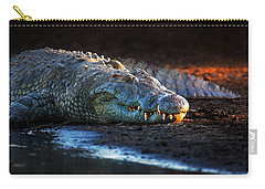Nile Crocodile On Riverbank-1 Carry-all Pouch by Johan Swanepoel