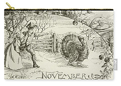 November   Vintage Thanksgiving Card Carry-all Pouch by American School