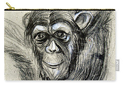One Of A Kind Original Chimpanzee Monkey Drawing Study Made In Charcoal Carry-all Pouch by Marian Voicu