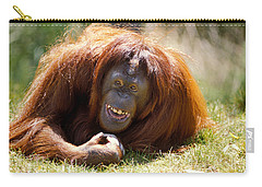 Orangutan In The Grass Carry-all Pouch by Garry Gay