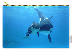 Orca Orcinus Orca Mother And Newborn Carry-all Pouch by Hiroya Minakuchi