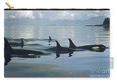 Orca Pod Johnstone Strait Canada Carry-all Pouch by Flip Nicklin