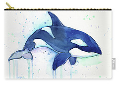 Orca Whale Watercolor Killer Whale Facing Right Carry-all Pouch by Olga Shvartsur