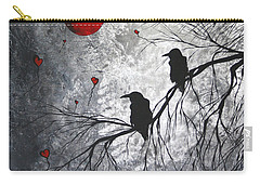 Original Abstract Surreal Raven Red Blood Moon Painting The Overseers By Madart Carry-all Pouch by Megan Duncanson