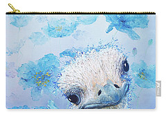 Ostrich In A Field Of Poppies Carry-all Pouch by Jan Matson