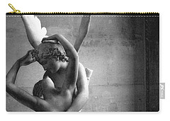 Paris In Love - Eros And Psyche Romantic Lovers - Paris Eros Psyche Louvre Sculpture Black White Art Carry-all Pouch by Kathy Fornal