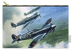 Patrolling Flight Of 416 Squadron, Royal Canadian Air Force, Spitfire Mark Nines Carry-all Pouch by Wilf Hardy