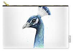 Peacock Watercolor Carry-all Pouch by Olga Shvartsur