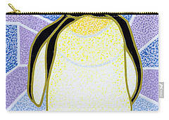 Penguin On Stained Glass Carry-all Pouch by Pat Scott