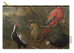 Pheasant Macaw Monkey Parrots And Tortoise  Carry-all Pouch by Charles Collins