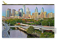 Philadelphia At Dusk Carry-all Pouch by Frozen in Time Fine Art Photography