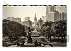 Philadelphia Benjamin Franklin Parkway In Sepia Carry-all Pouch by Bill Cannon