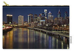 Philadelphia Skyline At Night Carry-all Pouch by Susan Candelario