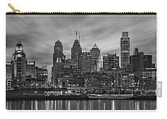 Philadelphia Skyline Bw Carry-all Pouch by Susan Candelario