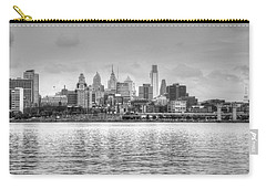 Philadelphia Skyline In Black And White Carry-all Pouch by Jennifer Ancker