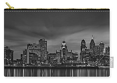 Philadelphia Skyline Panorama Bw Carry-all Pouch by Susan Candelario