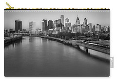 Philadelphia Skyline Pastels Bw Carry-all Pouch by Susan Candelario