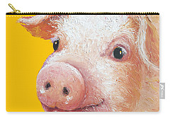 Pig Painting On Yellow Background Carry-all Pouch by Jan Matson