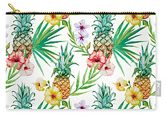 Pineapple And Tropical Flowers Carry-all Pouch by Vitor Costa