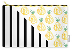 Pineapples And Stripes Carry-all Pouch by Linda Woods