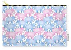 Pink And Blue Elephant Pattern Carry-all Pouch by Antique Images
