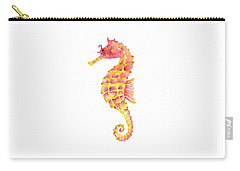 Pink Yellow Seahorse - Square Carry-all Pouch by Amy Kirkpatrick