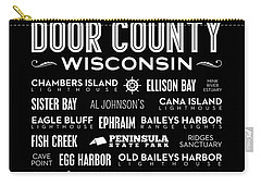Places Of Door County On Black Carry-all Pouch by Christopher Arndt