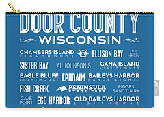 Places Of Door County On Blue Carry-all Pouch by Christopher Arndt