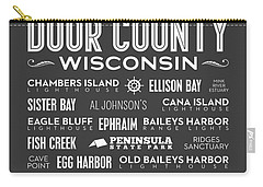 Places Of Door County On Gray Carry-all Pouch by Christopher Arndt