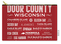 Places Of Door County On Red Carry-all Pouch by Christopher Arndt
