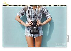 Pretty Woman Using Vintage Camera Carry-all Pouch by Siarhei Kazlou