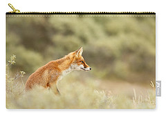 Princess Of The Hill - Red Fox Sitting On A Dune Carry-all Pouch by Roeselien Raimond
