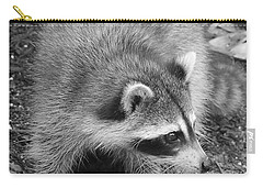 Raccoon - Black And White Carry-all Pouch by Carol Groenen