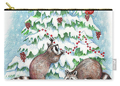 Raccoon Christmas Carry-all Pouch by Peggy Wilson