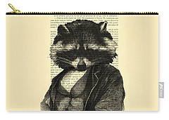 Raccoon Portrait, Animals In Clothes Carry-all Pouch by Madame Memento