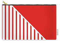 Red And White Triangles Carry-all Pouch by Linda Woods