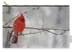 Red Bird Of Winter Carry-all Pouch by Jeff Kolker