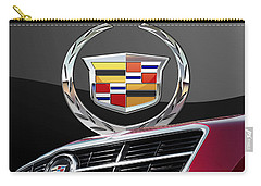 Red Cadillac C T S - Front Grill Ornament And 3d Badge On Black Carry-all Pouch by Serge Averbukh