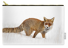 Red Fox In A Snow Covered Scene Carry-all Pouch by Roeselien Raimond