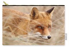 Red Fox On The Hunt Carry-all Pouch by Roeselien Raimond