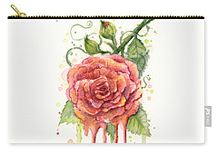 Red Rose Dripping Watercolor  Carry-all Pouch by Olga Shvartsur