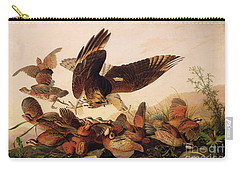 Red Shouldered Hawk Attacking Bobwhite Partridge Carry-all Pouch by John James Audubon
