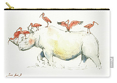 Rhino And Ibis Carry-all Pouch by Juan Bosco