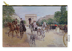 Riders And Carriages On The Avenue Du Bois Carry-all Pouch by Georges Stein