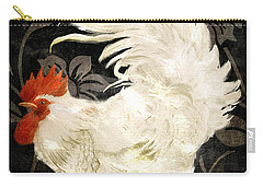Rooster Damask Dark Carry-all Pouch by Mindy Sommers